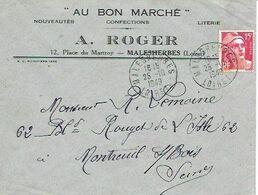LOIRET 45  -  MALESHERBES  -  CACHET MANUELS R A6  - 1949 - AU BON MARCHE CONFECTION A. ROGER - Marcophilie (Lettres)