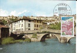 Carte Maximum Fdc, France, 1976 N°1904 Yt, Thiers, Pont Du Moutier Sur La Durolle - 1970-79
