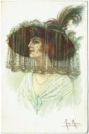 Illustrateur : Jan Marco. Femme, Chapeau Avec Voilette. Mode. - Otros Ilustradores