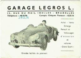 Carte Visite. Ixelles. Garage Legros, Rue Du Mail. Automobile Décapotable Renault ? - Cartes De Visite