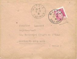 BAS RHIN 67 -  MUTZIG  -  CACHET RECETTE R A4  - 1946  -  BELLE FRAPPE - Marcophilie (Lettres)
