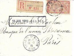NORD 59 -  LILLE ST MARTIN   -  CACHET RECETTE R A4  - 1919  -  LETTRE RECOMMANDEE - TIMBRE N° 119 TARIF LR  SEUL/LETTRE - Marcophilie (Lettres)