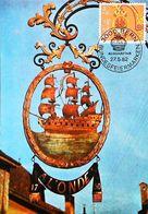 """Enseigne Bateau Auberge """"A L'ONDE"""" Bundesfeiermarken Pro-Patria Wirtshausschilder - BERN 1982  Carte Maximum Card - Restaurants"""