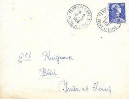 INDRE ET LOIRE 37-  FERRIERE LARCON    -  CACHET RECETTE DISTRIBUTION   B7  - 1958  -   TIRELETS - Marcophilie (Lettres)