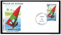 Wallis Et Futuna  -  FDC  -  Avion  :  Yv  122  (o)  Planche à Voile - FDC