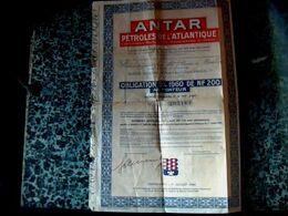 Vieux Papier Obligation 5/100 _1960 De N.F.  Au Porteur ANTAR Pétrole De L'atlantique - Petróleo