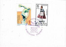 37168. Hojita Barcelona OLYMPHILEX 92. Sagrada Familia. Matasellos Dorso Oficina Postal Olimpica - 1931-Heute: 2. Rep. - ... Juan Carlos I