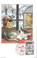 Carte Maximum Fdc,france, Croix Rouge, Saisons, Hiver, Enfant, Chat, Oiseau, 30/11/74 Pau Secourisme De Montagne, N°1829 - 1970-79