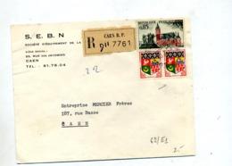 Lettre Recommandée Caen Sur Calais  Oran - Marcophilie (Lettres)