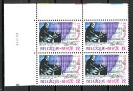 BE   2175   XX   ---  Europa : Musique  --  Bloc De 4  Coin De Feuille  --  Parfait état - Esquinas Fechadas