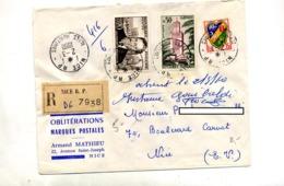 Lettre Recommandée Nice Sur Tlemcen Nolhac - Marcophilie (Lettres)