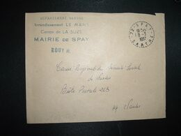 LETTRE MAIRIE OBL. Tiretée 8-3 1967 72 SPAY SARTHE - Marcophilie (Lettres)