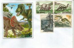 SAN MARINO / SAINT MARIN . Animaux Préhistoriques Et Reptile Volant.  Sur Lettre - Prehistorics