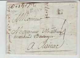 BORDEAUX : B Couronné, + TM 4 / LAC De 1782 Pour Un Boulanger De Clairac, Filigrane, Etat - 1701-1800: Precursori XVIII
