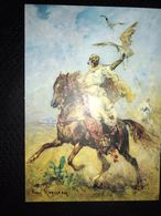 "Modern Ukrainian Postcard ""Falconry. FAUCON HUNTING"" -   Falco HALCONEROS / FAUCONNIER / FALCONER - Vogels"