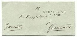 PREUSSEN Zweizeiler Stralsund Auf Militär-Brief 17.1. Um 1820 Nach Greifswald - Deutschland
