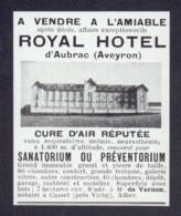 Coupure De Presse (31/08/1935) : A VENDRE : ROYAL HOTEL D'AUBRAC ( Aveyron ) - Old Paper