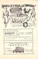 """Publicité-1953-Binche :Le Vêtement """"Georgy""""-La Louvière :Svelty-Sotrace-Omer Laurent-Au Carillon-A La Carpe D'Or (Pêche) - Werbung"""