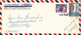 Singapore Malaya Air Mail Cover Sent To Sweden 6-11-1956 - Singapore (...-1959)