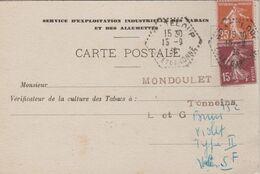 CARTE SERVICE D'EXPLOITATION INDUSTRIELLE DES TABACS ET DES ALLUMETTES OBLITERATION GRATELOUP - 1921-1960: Moderne