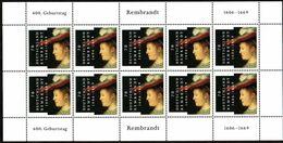 2006 Germania, Rembrandt, Serie Completa Nuova (**)  Minifogli Da 10 Francobolli, Al Facciale - [7] Federal Republic