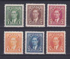 CANADA 1937, Mi# 197A-202A, CV €22, King George VI, MNH - 1937-1952 Règne De George VI