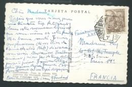 Cpa  De Santander (plaza De Alfonso)pour Paris En Avril 1956 Affranchie à 2 Ptas   -  Qaa 6601 - 1951-60 Cartas