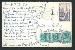 """Cpa """" Roscoff - Le Laboratoire Biologique - Taxée Par Type Gerbes Yvert N°82 X 3 En Sept 1954  Qaa 6612 - Marcophilie (Lettres)"""