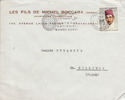 MAROC LETTRE A EN TETE DE  DE CASABLANCA POUR LA FRANCE 1972 - Marocco (1956-...)