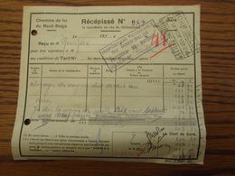 Document Récépissé De La LIGNE PRIVEE DU NORD BELGE Oblitéré Andenne-Seilles 4 En 1939 + Cachet Mauve De L'INSPECTION - North Of Belgium