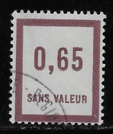 TIMBRES FICTIFS N° F35 EMISSION DE 1935 0,65 VIOLET-BRUN OBLITERE TRES RARE TTB - Phantom