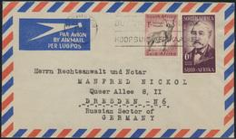 Brief Südafrika Luftpost MIF 247+254 Germiston Nach Dresden 24.1.1956 - Südafrika (...-1961)