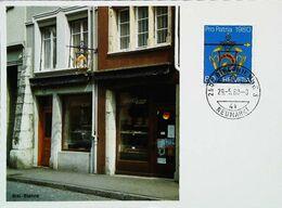 """Enseigne Boulangerie Suisse (BIEL BIENNE)  """"Croissant"""" 1980 Bundesfeiermarken Pro-Patria Wirtshausschilder    -  BERN - Magasins"""
