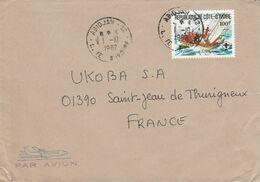 COTE D'IVOIRE SEUL SUR LETTRE AVION POUR LA FRANCE 1982 - Costa D'Avorio (1960-...)