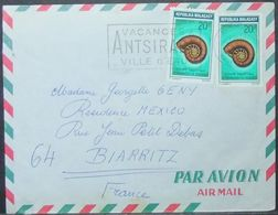 Madagascar - Advertising Cover To France 1970 Shell Fossil Antsirabe Tobacco Cigarettes Melia - Fossils