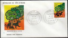 Ivory Coast 1976 / Nature Protection, Trees, Cat / Mi 489 / FDC - Costa D'Avorio (1960-...)
