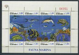 269 - SALVADOR 1996 - Yvert 1299/306 En Feuille - Poisson Tortue Mammifere Marin - Neuf ** (MNH) Sans Trace De Charniere - El Salvador