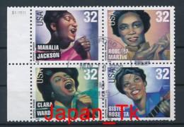 USA Mi. Nr. 2984-2987 Amerikanische Musikgeschichte: Gospelsänger - Used - Etats-Unis