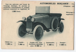 CPA DES AUTOMOBILES BENJAMIN - 2 MODELES - VAINQUEUR TOUR DE FRANCE 1922 - ECRITE 1922 - 6 SCANS - - Passenger Cars