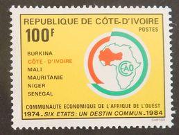 """COTE D IVOIRE YT 701 NEUF**MNH """"10 EME ANNIVERSAIRE DE LA CEAO""""  ANNÉE 1984 - Costa D'Avorio (1960-...)"""