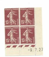 Semeuse Bloc De 4 - 15c Brun-lilas Type 1 N° YT 189 - Coin Daté -9.7.27 - Coins Datés