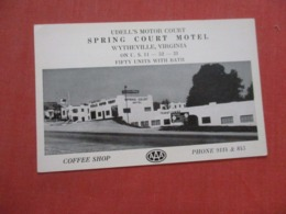 Mobil Gas Sign  Spring Court Motel Wytheville   Virginia       Ref 4263 - Etats-Unis