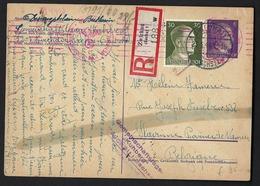 Entier Postal - 1944 - Recommandé, Griffe Censure. Scan Recto/verso - Alemania