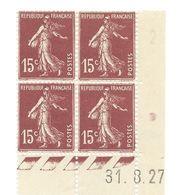 Semeuse Bloc De 4 - 15c Brun-lilas Type 1 N° YT 189 - Coin Daté 31. 8 .27 - Coins Datés