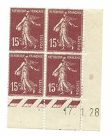 Semeuse Bloc De 4 - 15c Brun-lilas Type 1 N° YT 189 - Coin Daté 17. 1. 28 - Coins Datés
