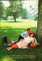 TOURNE DISQUE  Pour Vinyles 33 Tours à Piles -  Carte Postale Années 50s - Couple Pique Nic - Corbeille De Fruit - Vinyl Records