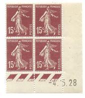 Semeuse Bloc De 4 - 15c Brun-lilas Type 1 N° YT 189 - Coin Daté -4. 5. 28 - Coins Datés