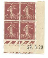 Semeuse Bloc De 4 - 15c Brun-lilas Type 1 N° YT 189 - Coin Daté 29. 6. 29 - Coins Datés