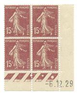 Semeuse Bloc De 4 - 15c Brun-lilas Type 1 N° YT 189 - Coin Daté -6. 12. 29 - Coins Datés
