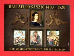 ITALIA :  FOGLIETTO   500 Anni Della Morte Di Raffaello Sanzio - 4 Val. X 3,90 €. MNH**  Del  20.07.2020 - Blocchi & Foglietti